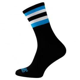Czarne skarpetki kolarskie w białe i błękitne paski
