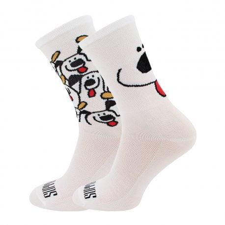 Białe skarpetki kolarskie z motywem psów