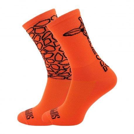 Pomarańczowe skarpetki kolarskie z motywem żyrafy