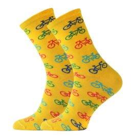 Żółte skarpetki bawełniane w kolorowe rowery