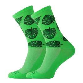 Zielone skarpetki kolarskie z liśćmi Monstery