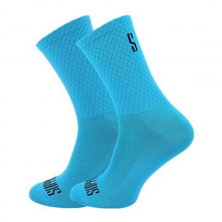 Błękitne gładkie skarpetki kolarskie z logotypem
