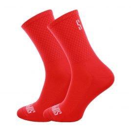 Czerwone gładkie skarpetki kolarskie z logotypem