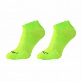Limonkowe stopki bawełniane z przewiewną siateczką i motywem roweru w palcach.